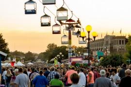 Iowa State Fair skyrider and grandstand Des Moines, Iowa