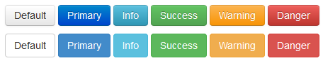 Twitter Bootstrap button styles in version 2 (top) and version 3 (bottom)