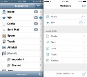 Apple iOS6 vs iOS7 settings panel