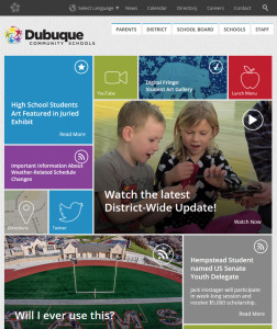 The homepage of the Dubuque Community School District's new website