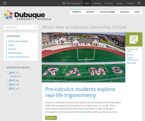 News listing for Dubuque Community Schools' new website.