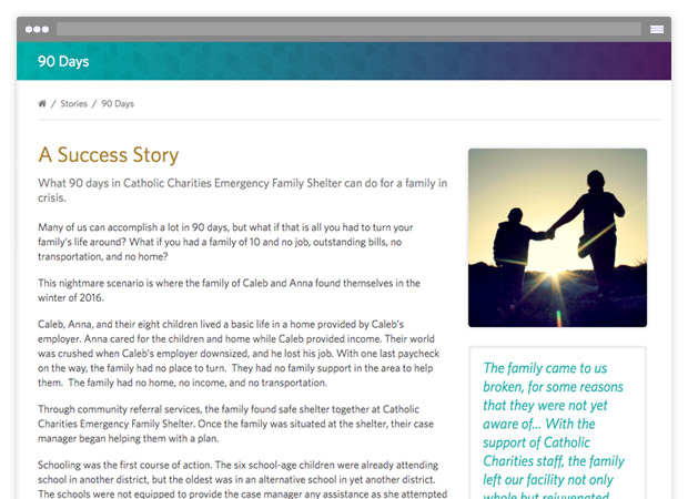 screenshot of success story web page