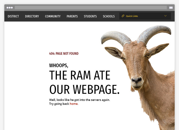 screenshot of a 404 error page with a ram image