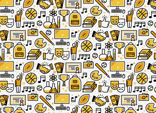 pattern made up of illustrated icons