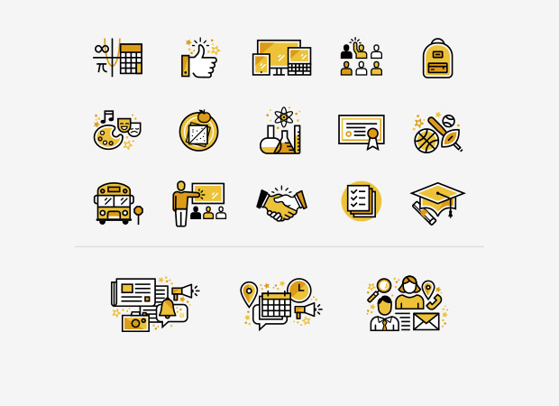 collection of 18 illustrated icons