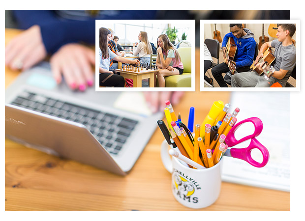 three photos of activities at a school