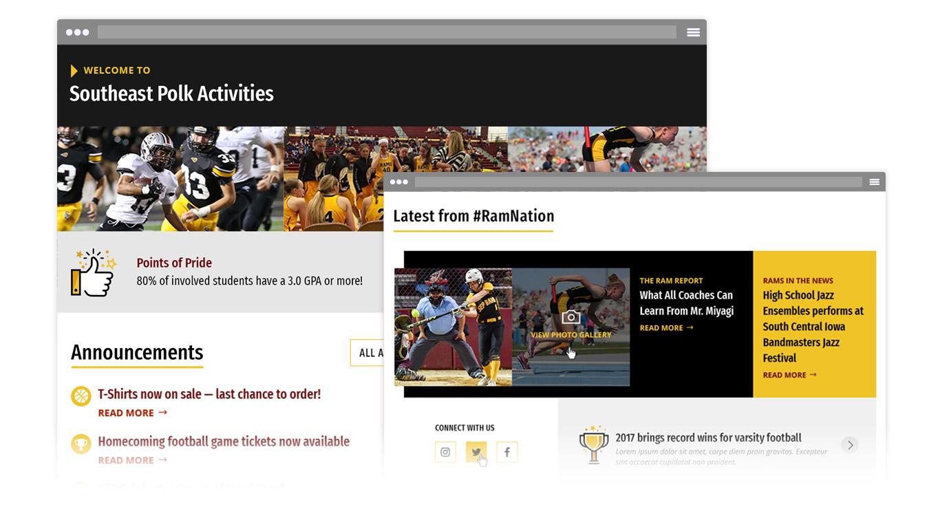 Screenshots of SEP's activities website