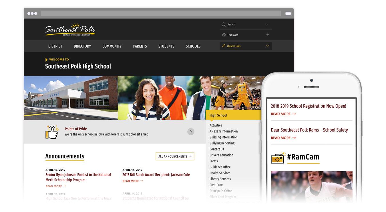 SEP school page screenshots
