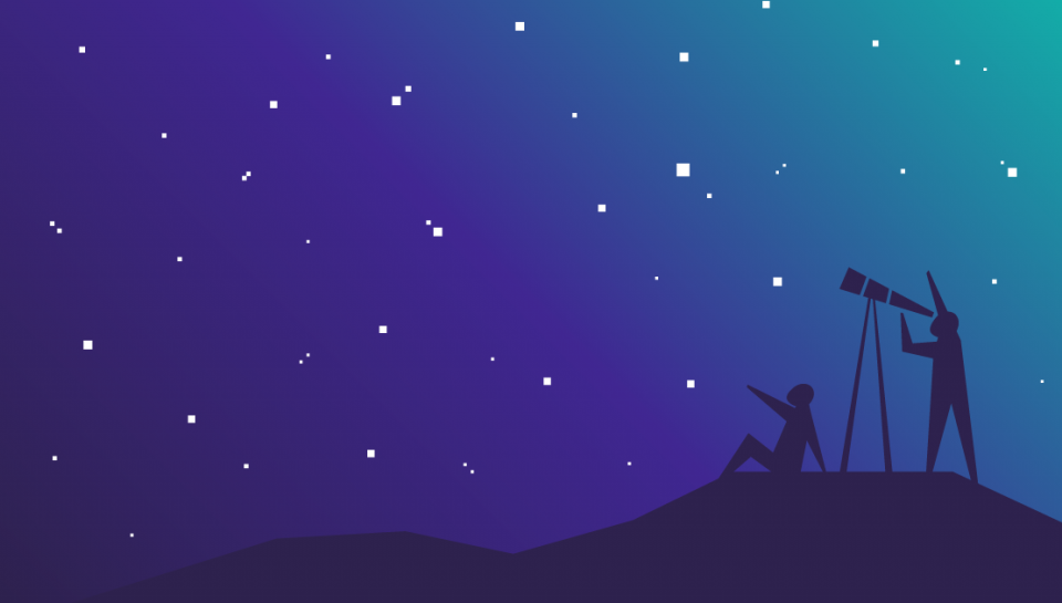 Illustration of two people stargazing