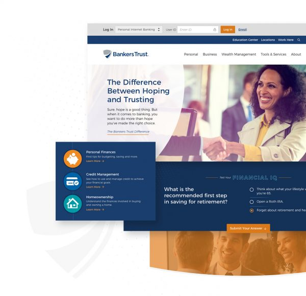 screenshots from bankers trust website