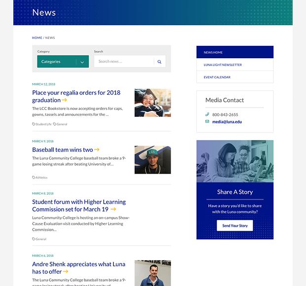Luna news screenshot