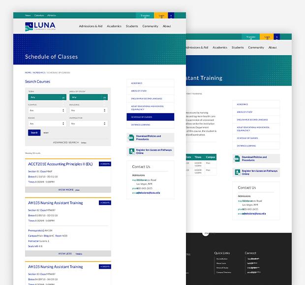Luna course catalog screenshot