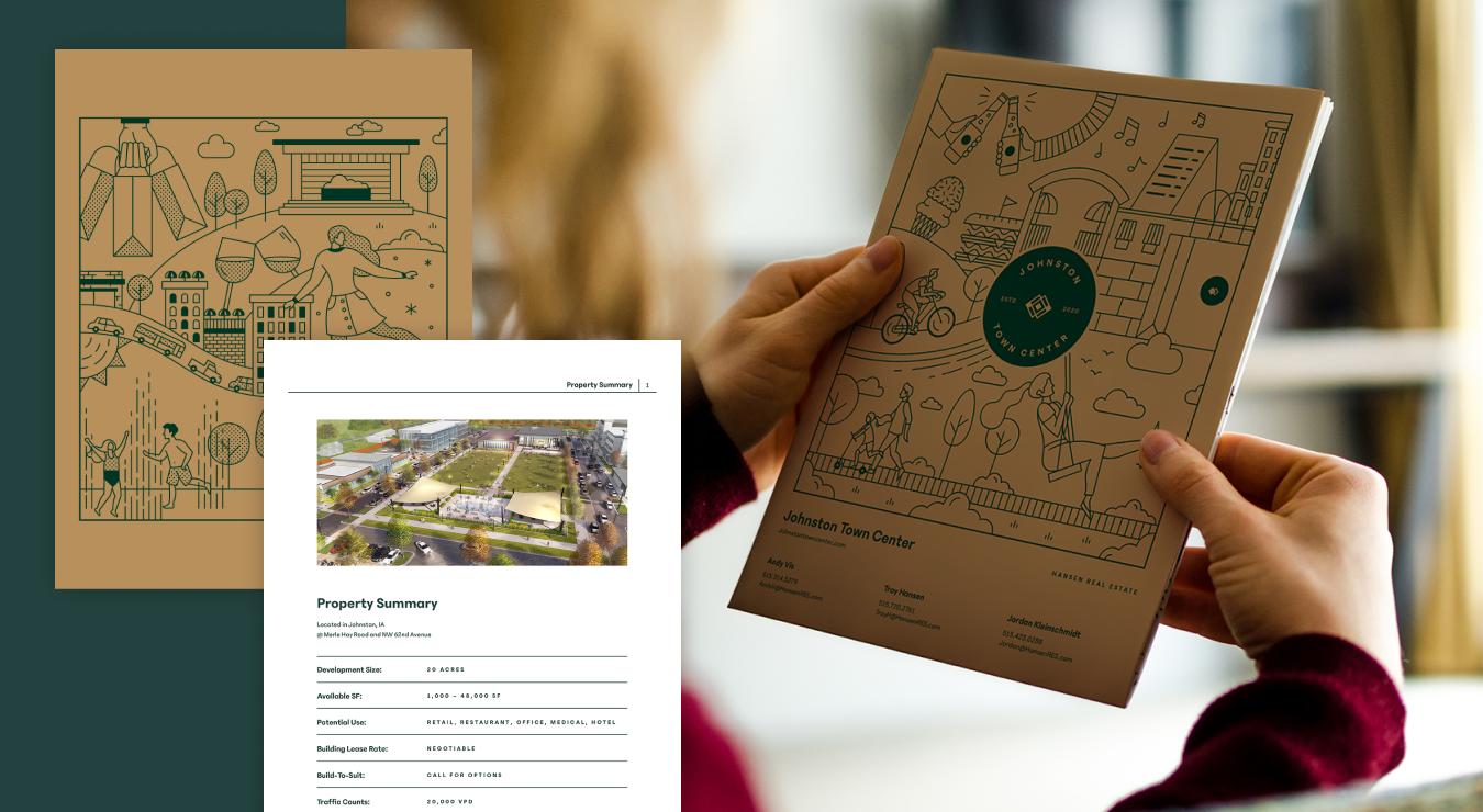 Mockup of brochure for Johnston Town Center