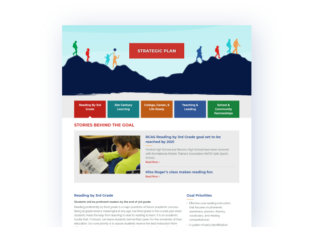 Screenshot showing Rapid City Area Schools's strategic plan page
