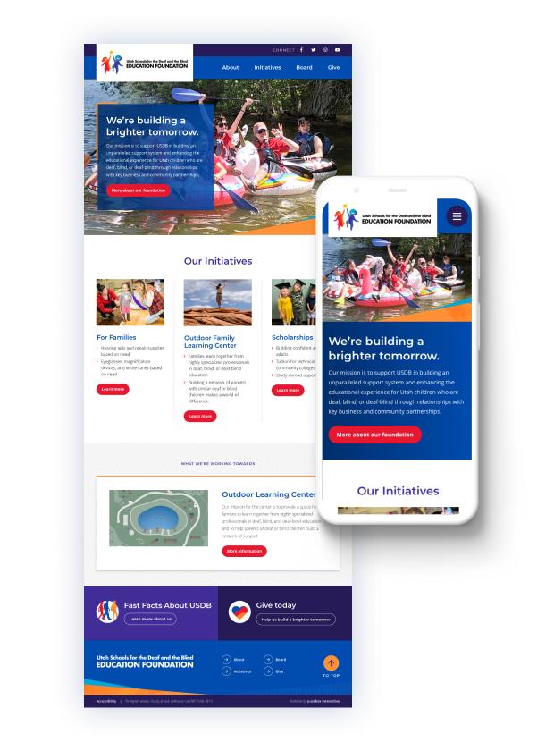 Screenshots of the USDB Foundation homepage